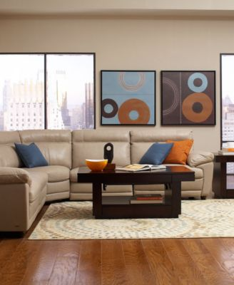 Novara Leather Sectional Living Room Furniture Collection, Power