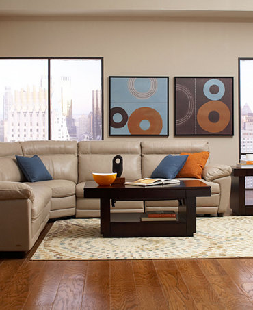 Carmelo Leather Sectional Furniture Living Room Collection Power Reclining