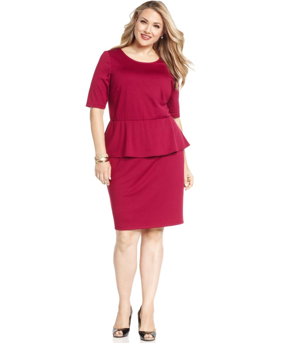NY Collection Plus Size Dress, Short Sleeve Peplum Sheath
