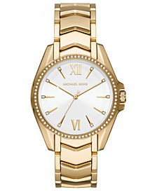 Michael Kors Women's Whitney Gold-Tone Stainless Steel Bracelet Watch 38mm