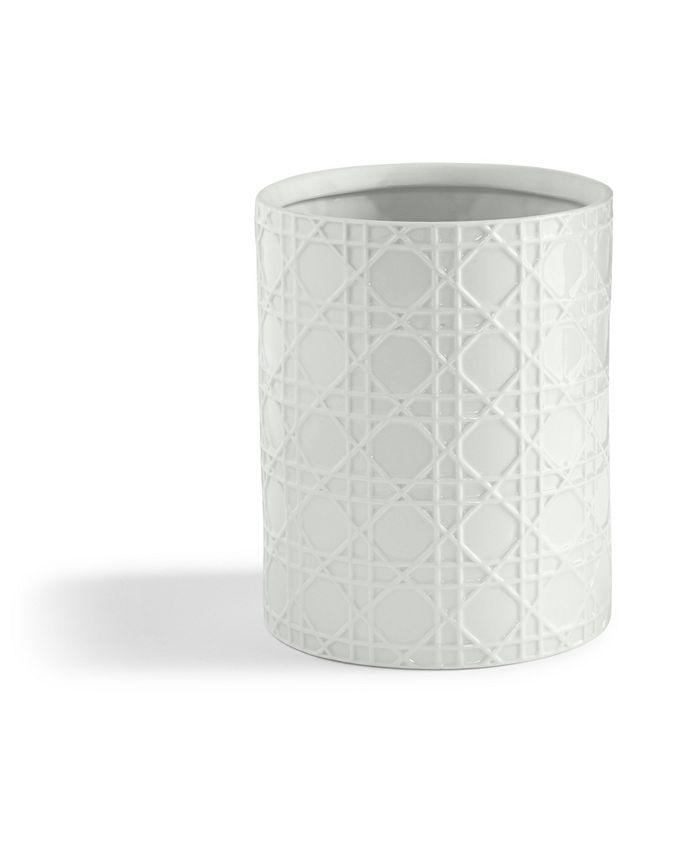 Cassadecor - Wicker Embossed Porcelain Waste Basket
