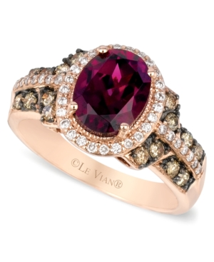 Le Vian Raspberry Rhodolite Garnet, Chocolate and White Diamond Oval Ring (2-3/4 ct. t.w.) in 14k Strawberry Rose Gold