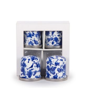 Cobalt Swirl Enamelware Collection Salt and Pepper Shakers, Set of 2