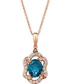 "Le Vian® Deep Sea Blue Topaz (2-9/10 ct. t.w.) & Diamond (5/8 ct. t.w.) 20"" Pendant Necklace in 14k Rose Gold"