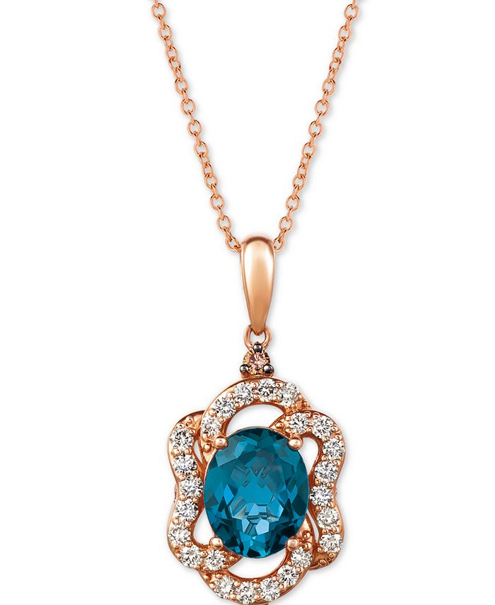 "Le Vian - Deep Sea Blue Topaz (2-9/10 ct. t.w.) & Diamond (5/8 ct. t.w.) 20"" Pendant Necklace in 14k Rose Gold"