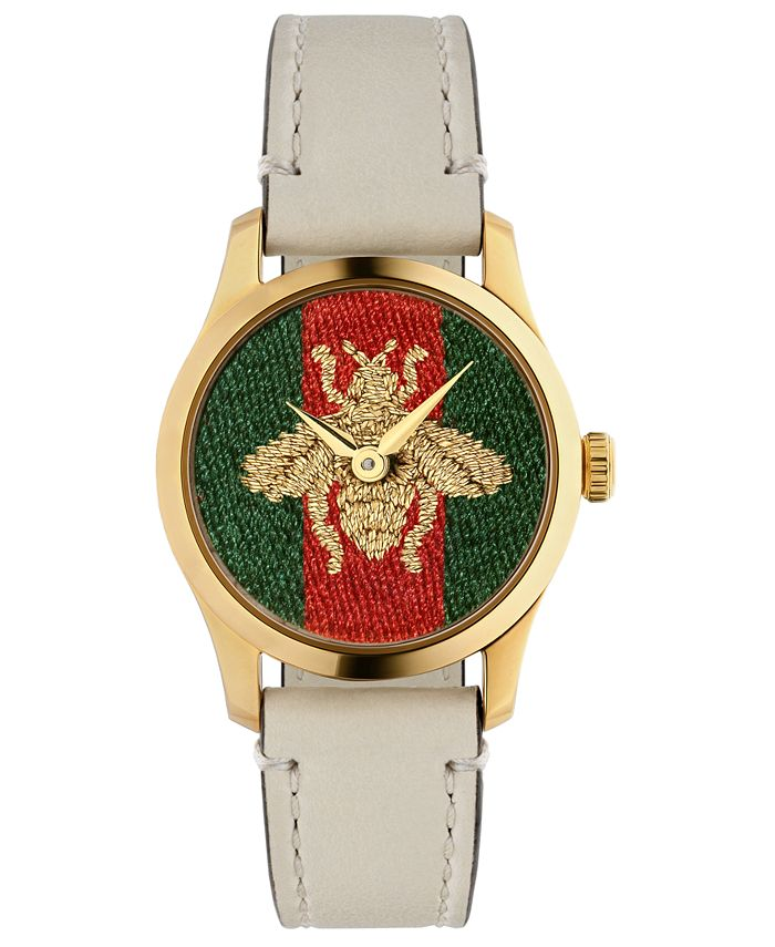 Gucci - Women's Swiss G-Timeless White Leather Strap Watch 27mm