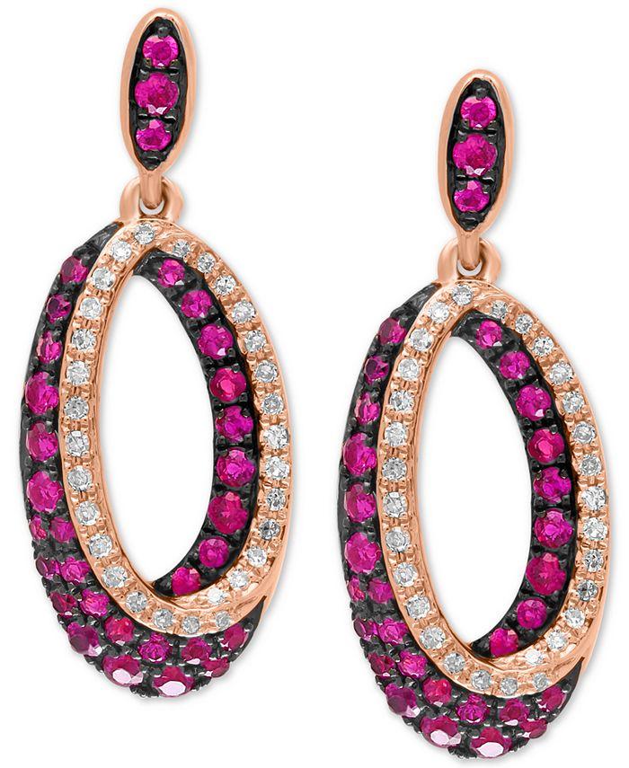 EFFY Collection - Certified Ruby (7/8 ct. t.w.) & Diamond (1/5 ct. t.w.) Drop Hoop Earrings in 14k Rose Gold