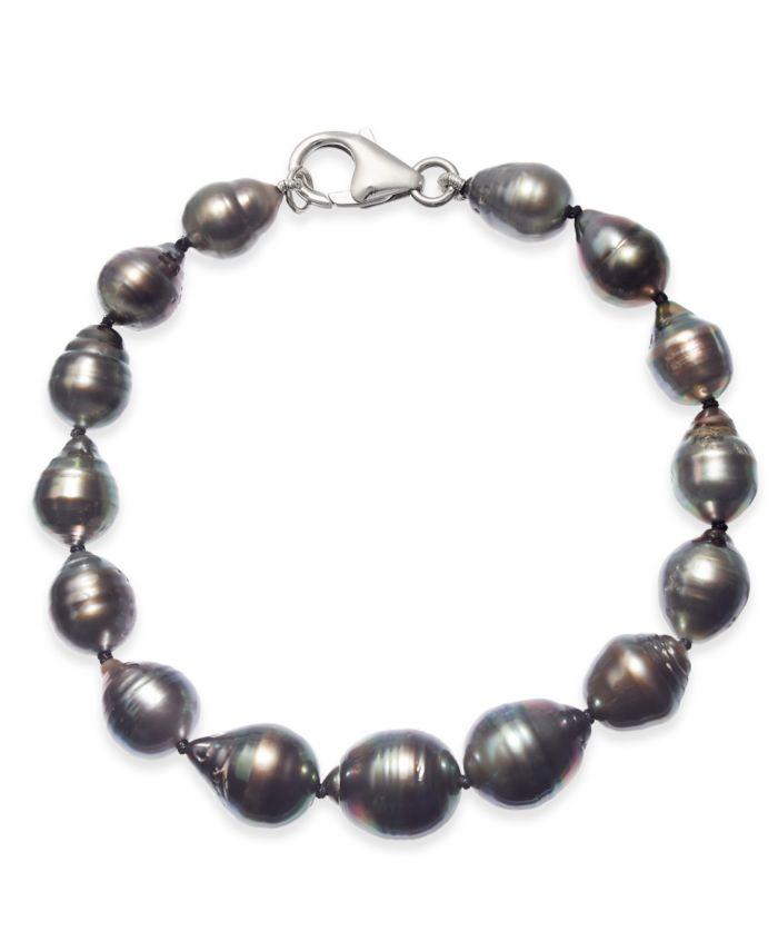 Macy's Cultured Baroque Black Tahitian Pearl (8 - 11mm) Graduated Bracelet & Reviews - Bracelets - Jewelry & Watches - Macy's