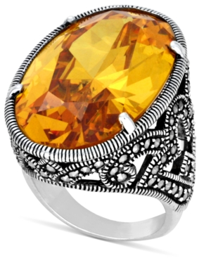 Genevieve & Grace Sterling Silver Ring, Yellow Cubic Zirconia (50 ct. t.w.) and Marcasite Oval Ring