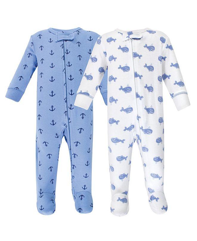 Hudson Baby Zipper Sleep N Play, Blue Whales, 2 Pack, 3-6 Months