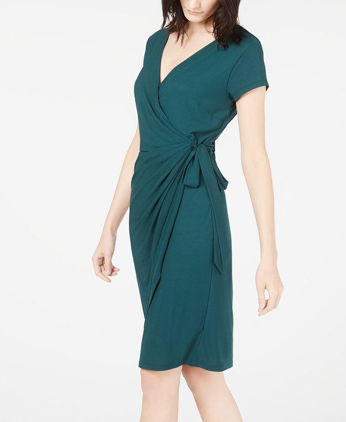 INC International Concepts - Cap-Sleeve Faux-Wrap Dress