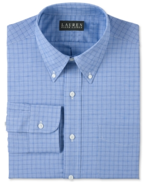 Lauren by Ralph Lauren Mens Dress Shirt, Blue Glen Plaid Shirt