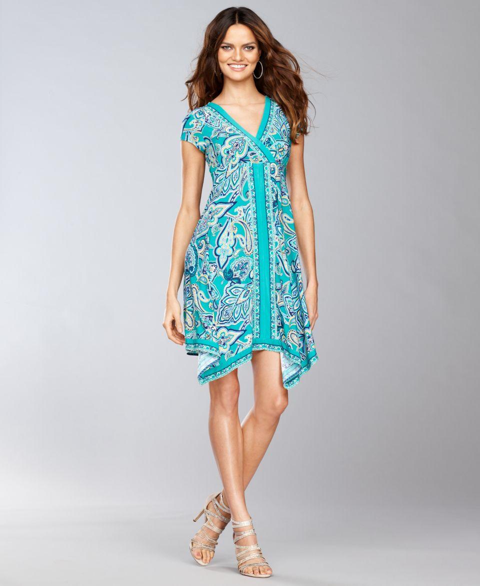 INC International Concepts Dress, Spaghetti Strap Empire Waist Printed