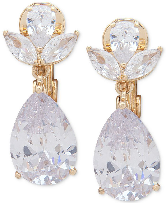Anne Klein - Gold-Tone Crystal Drop Clip-On Earrings