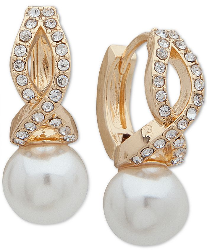 Anne Klein - Gold-Tone Imitation Pearl Huggie Earrings