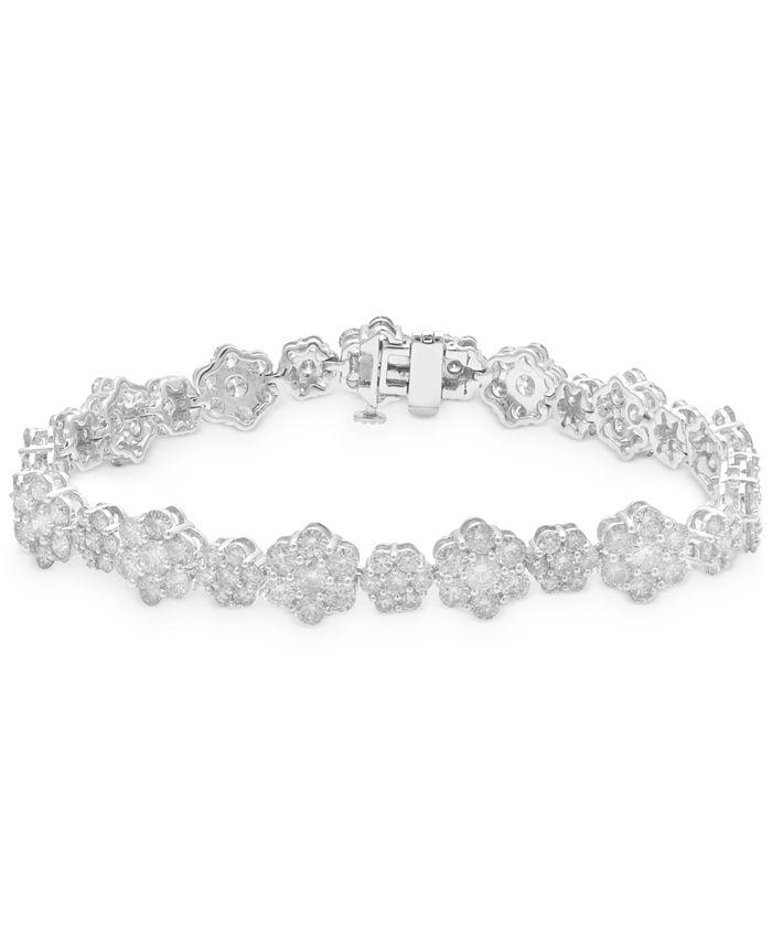 Macy's - Diamond Flower Cluster Link Bracelet (10 ct. t.w.) in 14k White Gold