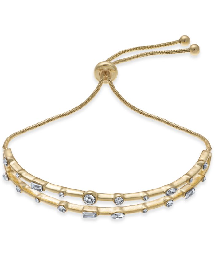 INC International Concepts INC Gold-Tone Crystal Double-Row Slider Bracelet, Created for Macy's  & Reviews - Bracelets - Jewelry & Watches - Macy's