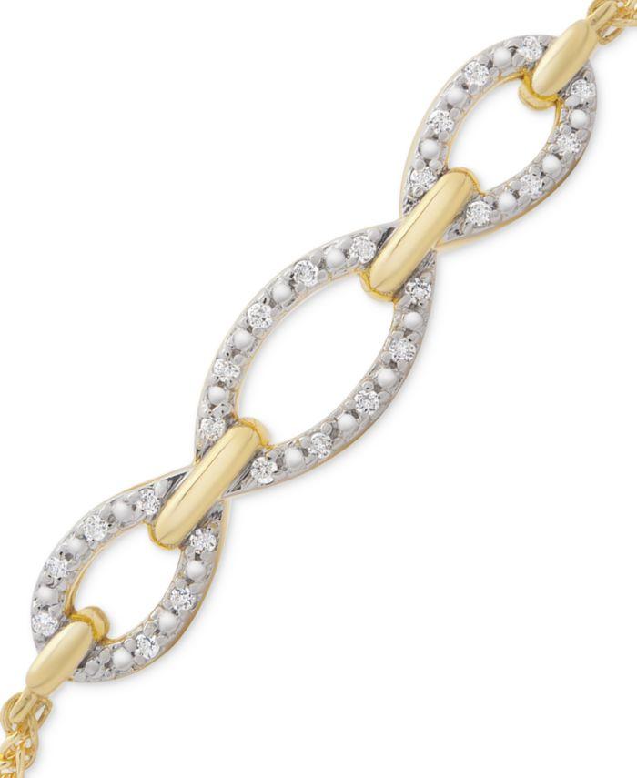 Macy's Diamond Chain Link Bolo Bracelet (1/10 ct. t.w.) in 14k Gold-Plated Sterling Silver & Reviews - Bracelets - Jewelry & Watches - Macy's