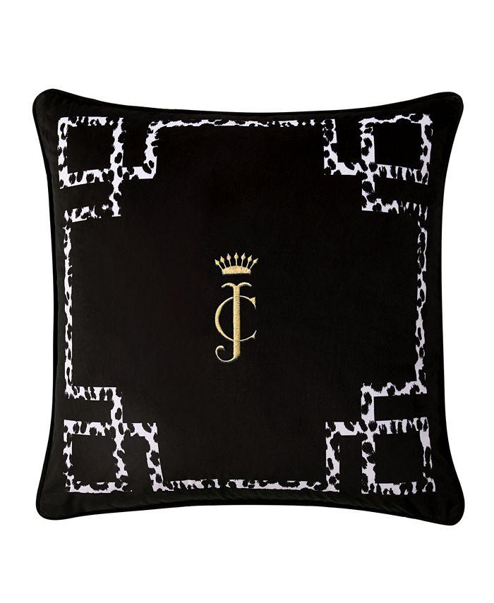 "Juicy Couture - Lattice Embroidered Velvet 20"" x 20"" Throw Pillow"