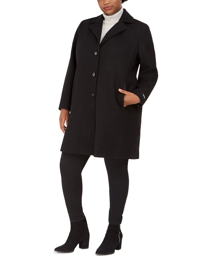 DKNY - Plus Size Faux-Leather-Trim Walker Coat