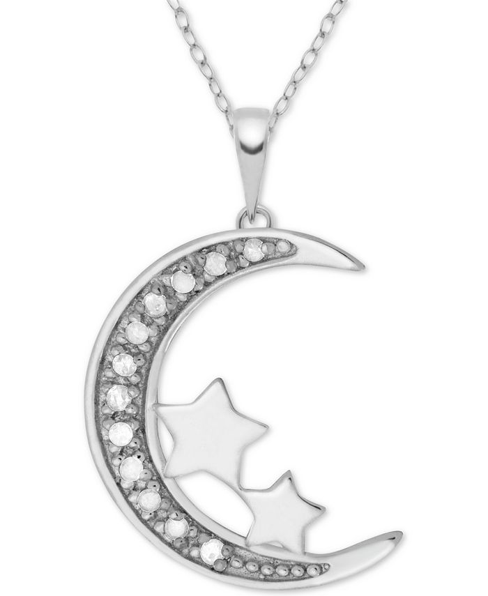 "Macy's - Diamond (1/10 ct. t.w.) Moon & Stars 18"" Pendant Necklace in Sterling Silver"