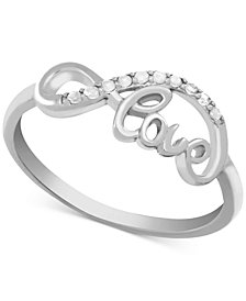 Diamond (1/10 ct. t.w.) Infinity Love Ring in Sterling Silver