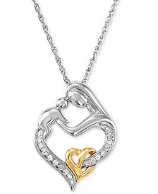 Mother and Infant Diamond Pendant Necklace in 14k Gold and Sterling Silver (1/10 ct. t.w.)