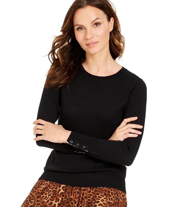 Charter Club - Button-Sleeve Sweater