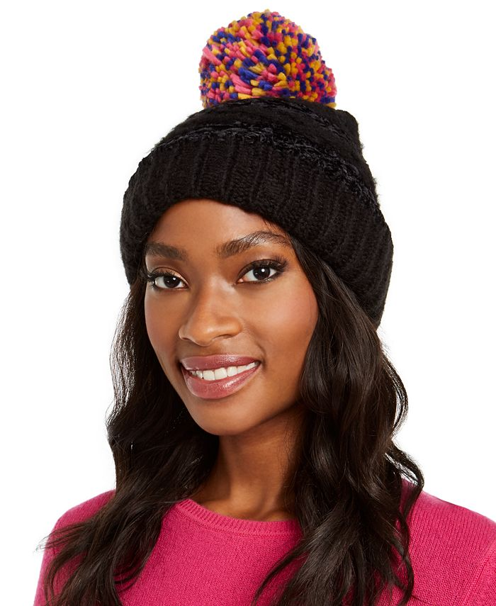 INC International Concepts - Chenille Striped Multi-Pom Beanie