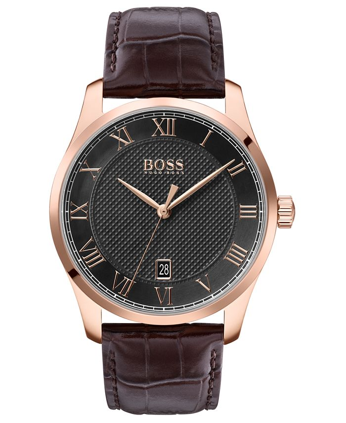 BOSS - Men's Master Brown Leather Strap Watch 41mm