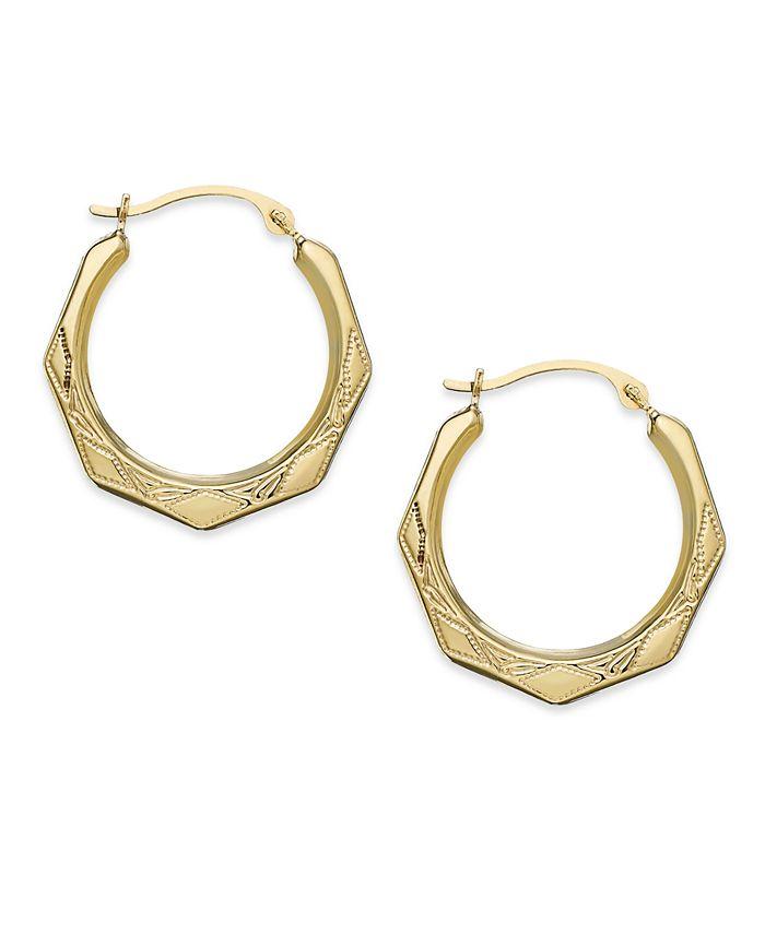 Macy's - Hexagon Hoop Earrings in 10k Gold