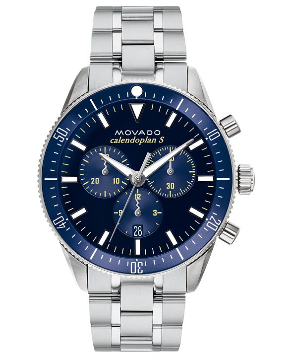 Movado Men's Swiss Chronograph Heritage Series Calendoplan Stainless Steel Bracelet Watch 42mm