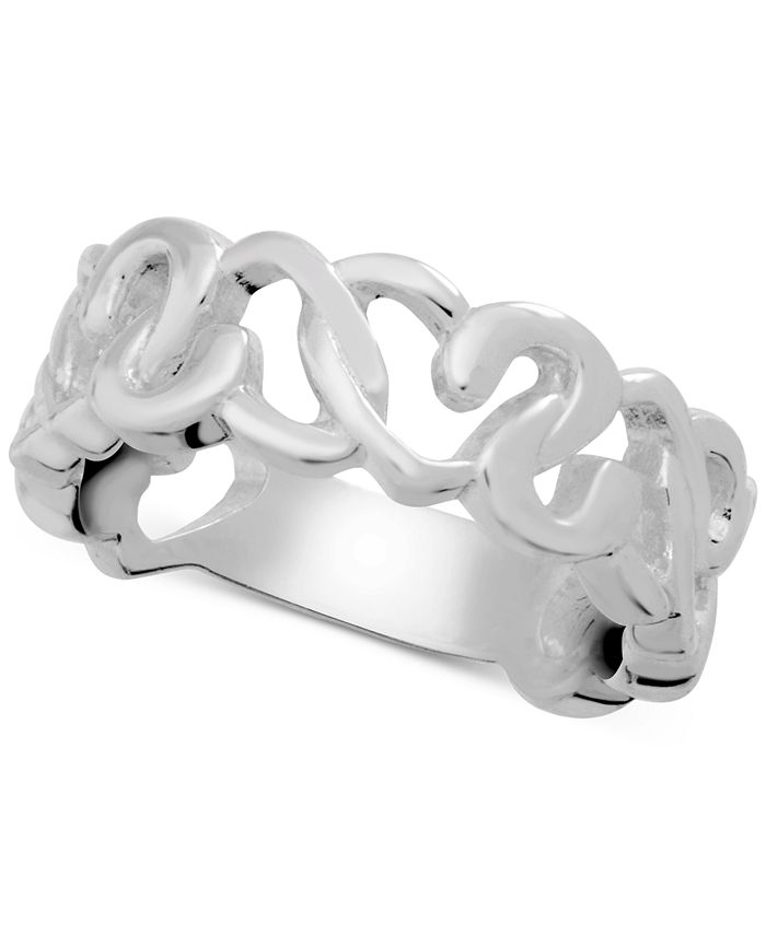 Essentials - Heart Openwork Link Ring in Fine Silver-Plate