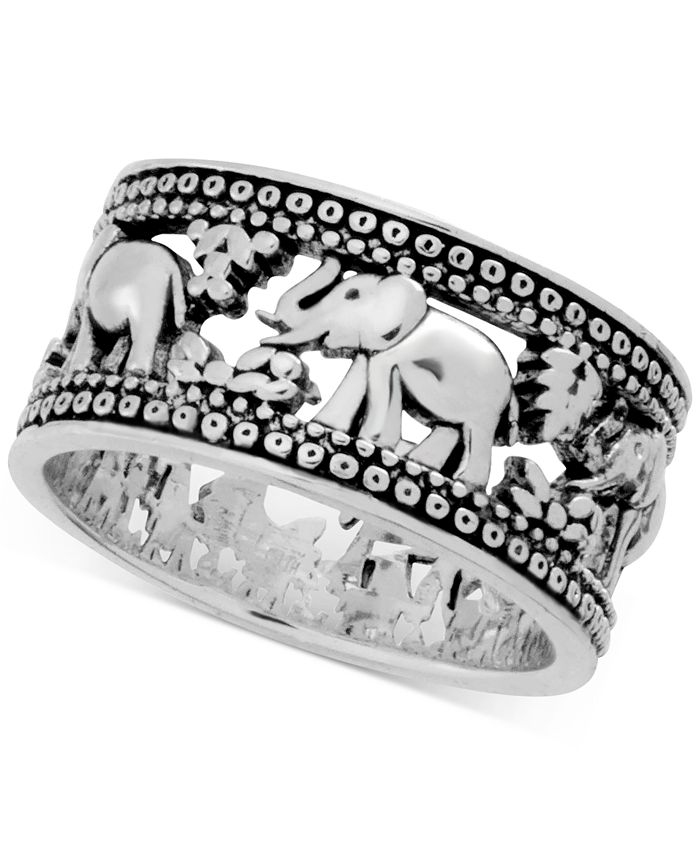Essentials - Elephant Band Ring in Fine Silver-Plate