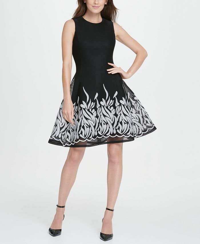 DKNY - Border Mesh Fit  Flare Dress