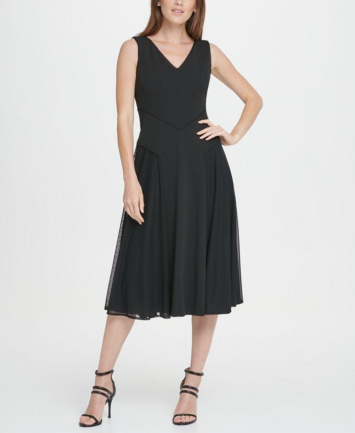 DKNY - Mesh Skirt Midi Flare Dress