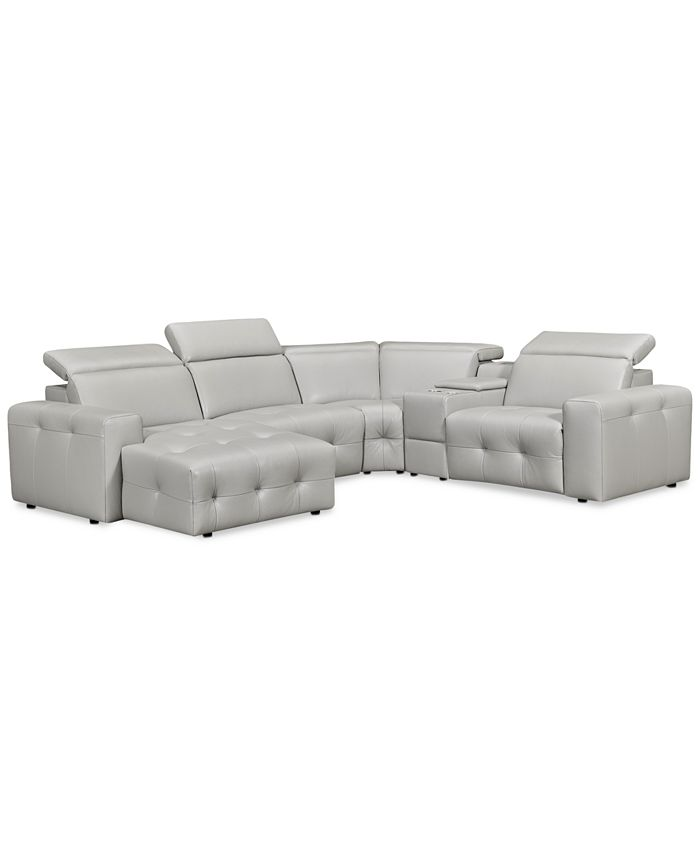 Furniture - Haigan 5-Pc. Leather Chaise Sectional Sofa with 1 Power Recliner