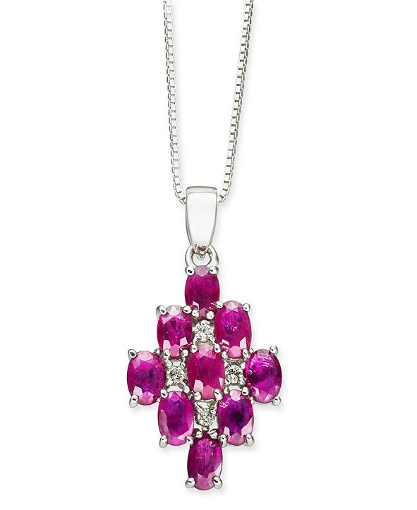 "Macy's Certified Ruby (3-1/6 ct. t.w.) & Diamond (1/20 ct. t.w.) 18"" Pendant Necklace in Sterling Silver"