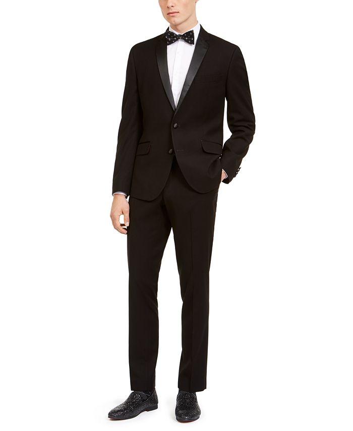 Billy London - Men's Slim-Fit Performance Stretch Black Tonal Houndstooth Tuxedo