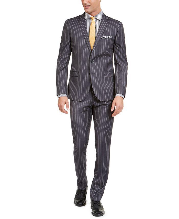 Nick Graham - Men's Slim-Fit Performance Stretch Chalk Stripe Suit