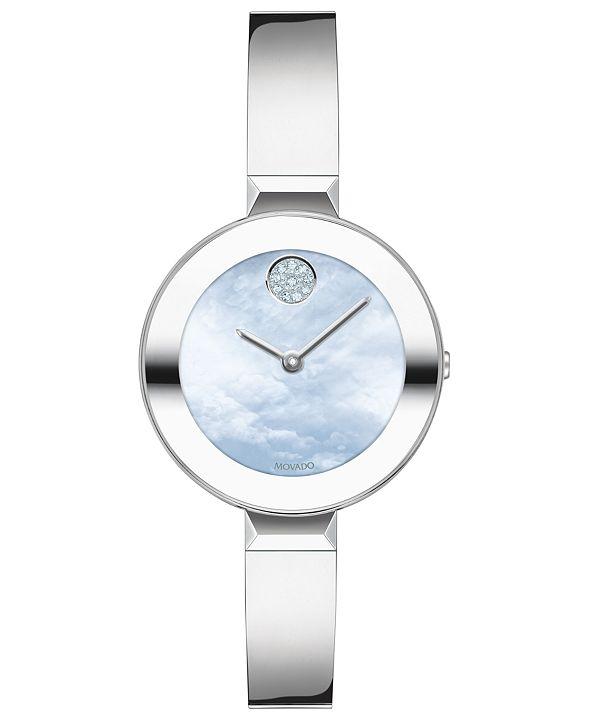 Movado Women's Swiss Bold Stainless Steel Bangle Bracelet Watch 28mm
