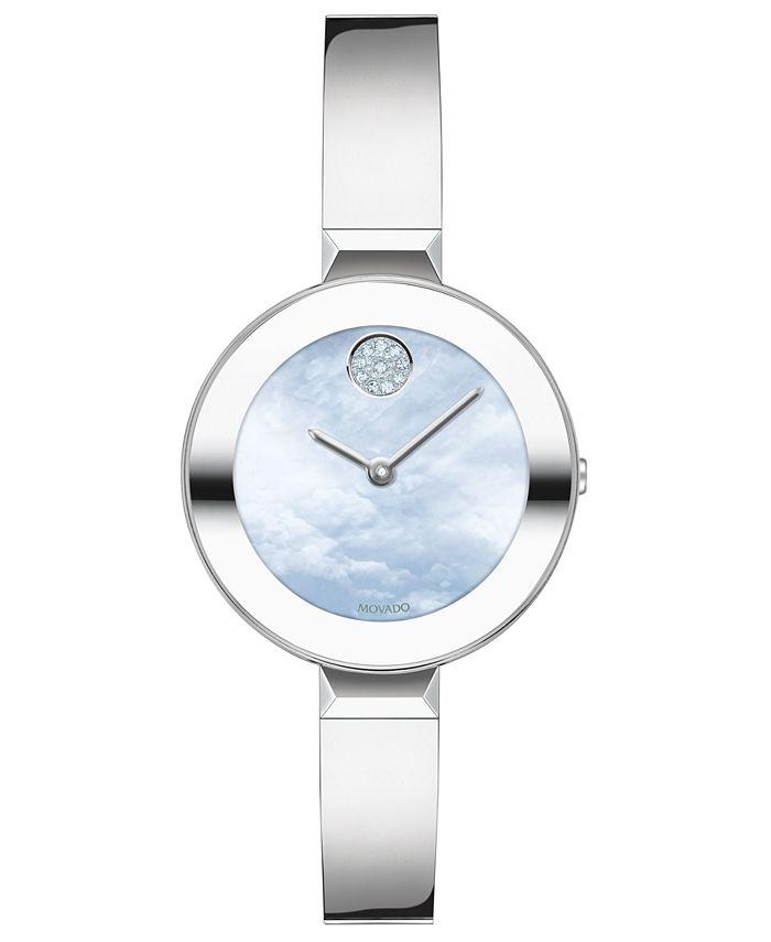 Movado - Women's Swiss Bold Stainless Steel Bangle Bracelet Watch 28mm