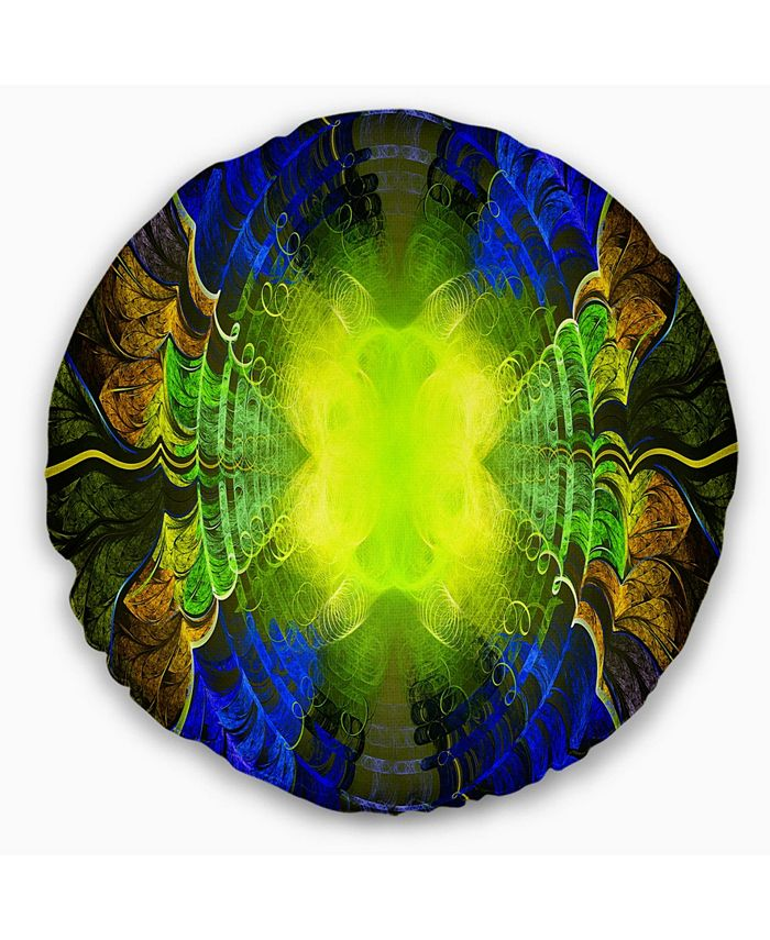 Design Art Designart Green Golden Fractal Stained Glass Abstract Throw Pillow 20 Round Reviews Decorative Throw Pillows Bed Bath Macy S