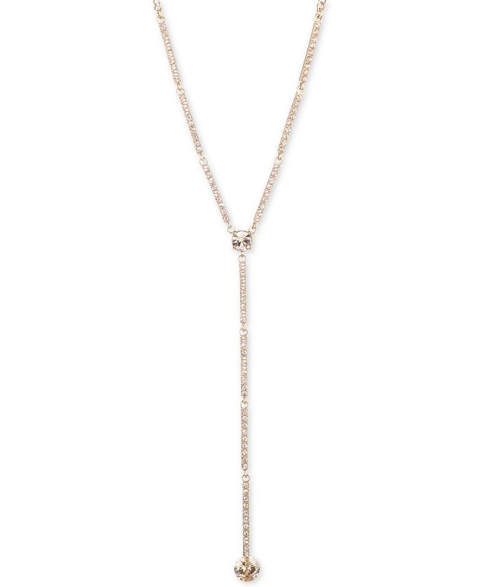"""Givenchy - Crystal Lariat Necklace, 16""""' + 3"""" extender"""