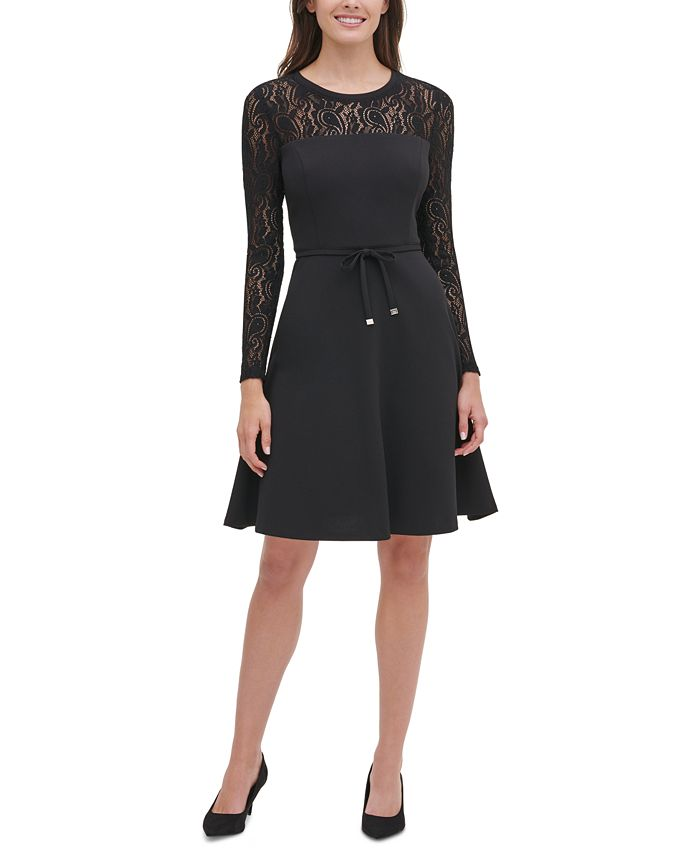 Tommy Hilfiger - Lace-Sleeve Fit & Flare Dress