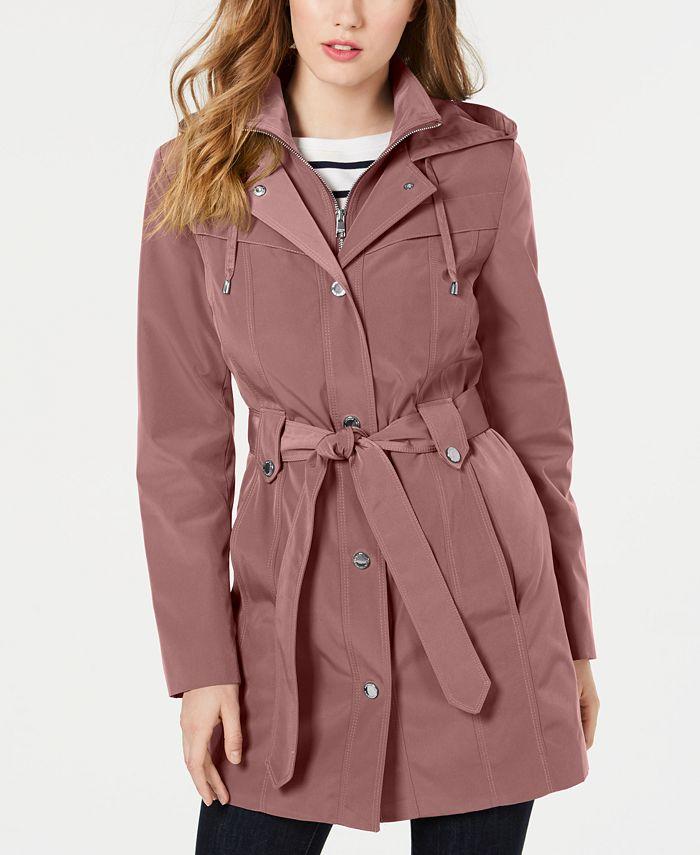 London Fog - Front-Zip Hooded Trench Coat