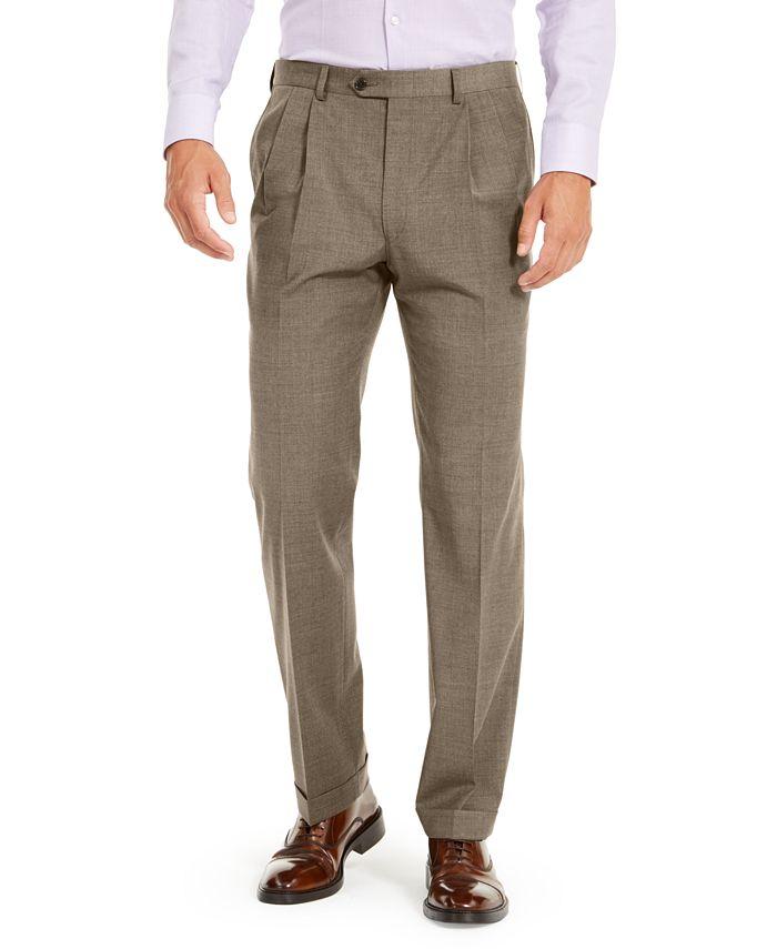 Lauren Ralph Lauren - Men's Wool Blend Classic-Fit UltraFlex Stretch Double-Reverse Pleated Dress Pants