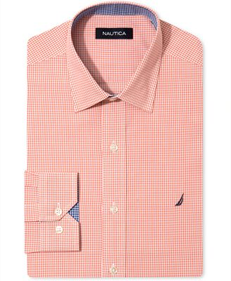 Nautica Dress Shirt Orange Gingham Long Sleeve Shirt