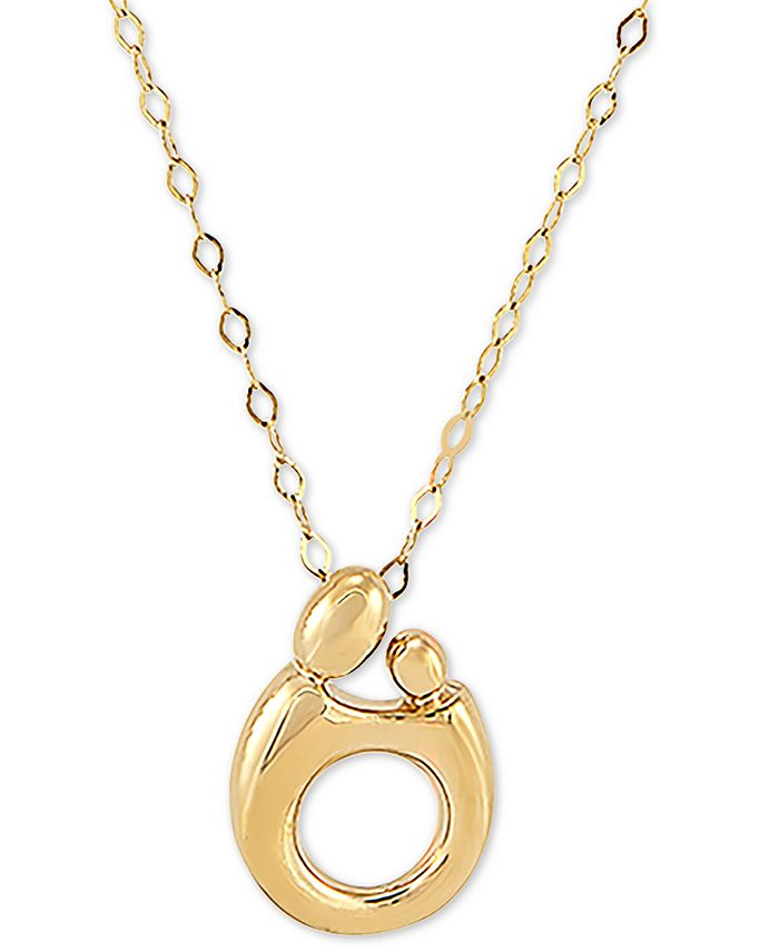 "Macy's - Mother & Child Polished 18"" Pendant Necklace in 14k Gold"