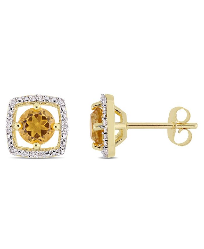 Macy's - Citrine (7/8 ct. t.w.) and Diamond Accent Halo Square Stud Earrings in 10k Yellow Gold